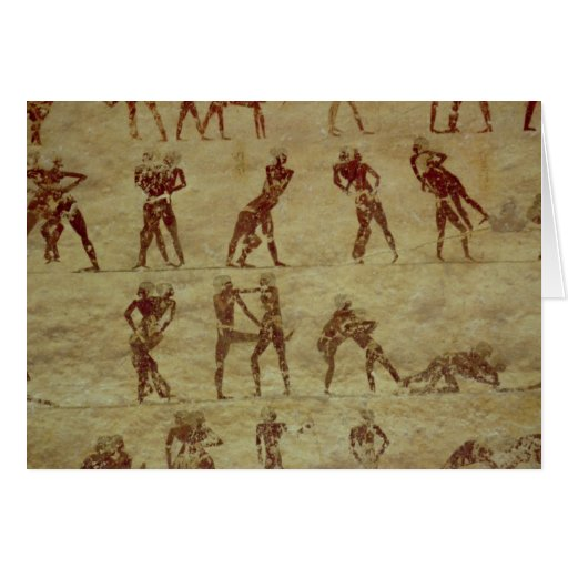 Luchadores, detalle de una pintura de pared de la  felicitaciones