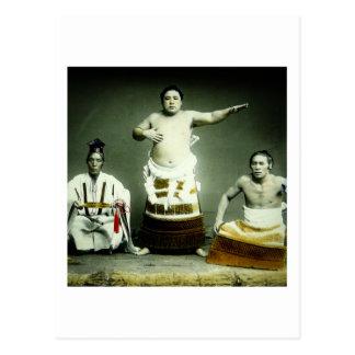 Luchadores japoneses Japón viejo del sumo del Postal