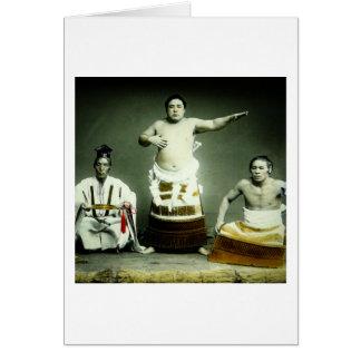 Luchadores japoneses Japón viejo del sumo del Tarjeta De Felicitación