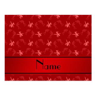 Luchadores rojos conocidos personalizados postal