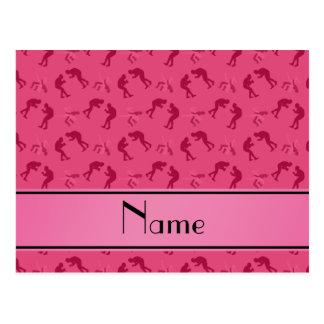 Luchadores rosados conocidos personalizados postal