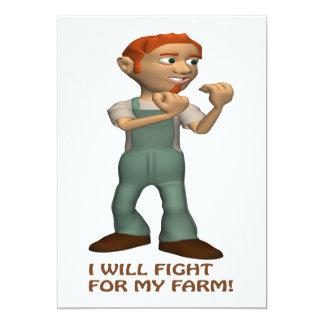 Lucharé para mi granja invitación 12,7 x 17,8 cm