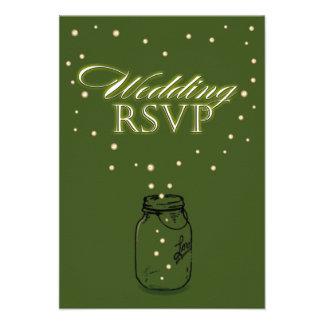 Luciérnaga del tarro de albañil del verde de musgo invitacion personalizada