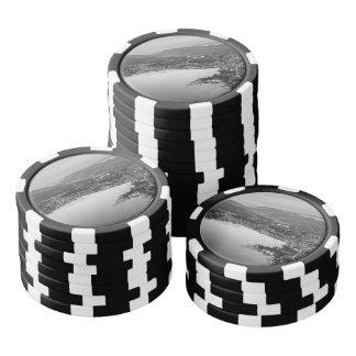 Lugano blanco y negro juego de fichas de póquer
