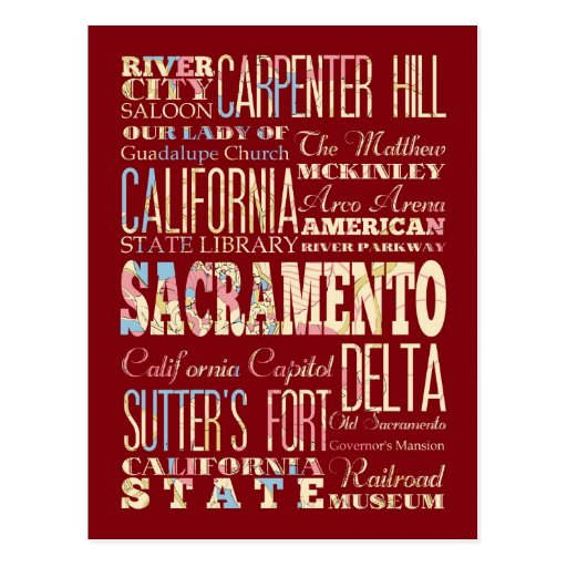 Lugares famosos de Sacramento, California Tarjetas Postales