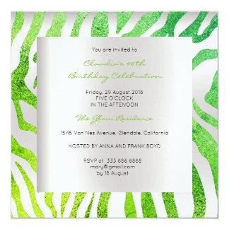 Lujo verde tropical del oro de los gris plateados invitación 13,3 cm x 13,3cm
