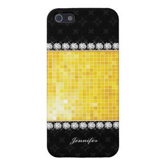 Lujo y textura negra el | del oro de los diamantes iPhone 5 cobertura
