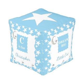 Luna azul y bebé personalizados de las estrellas pouf