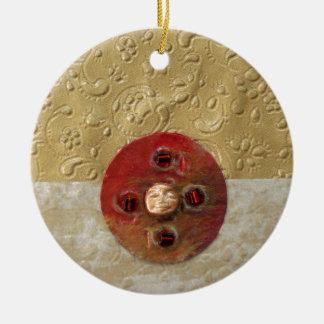 Luna - collage adorno redondo de cerámica