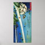 Luna de Hiroshige sobre la bella arte de la cascad Impresiones