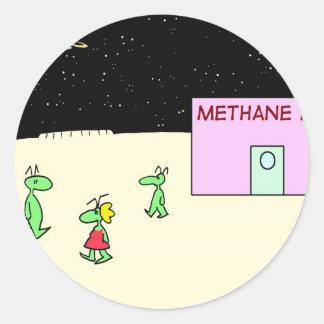 luna de la barra del oxígeno del metano de los pegatina redonda