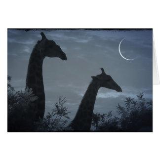 Luna de la jirafa tarjeta pequeña