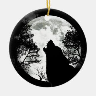 Luna del aullido adorno redondo de cerámica