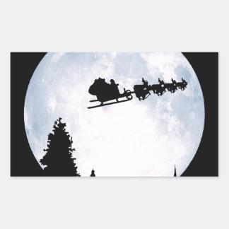 Luna del navidad rectangular pegatina