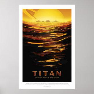 Luna del titán del turismo de espacio del anuncio póster
