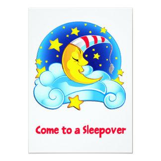 Luna el dormir con el Sleepover estrellado del Invitación 12,7 X 17,8 Cm