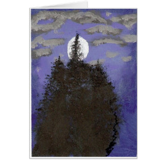 Luna en la noche tarjeta de felicitación