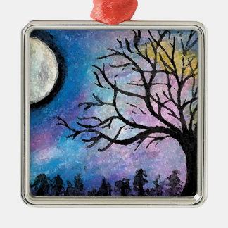 Luna estupenda y paisaje del árbol adorno de cerámica