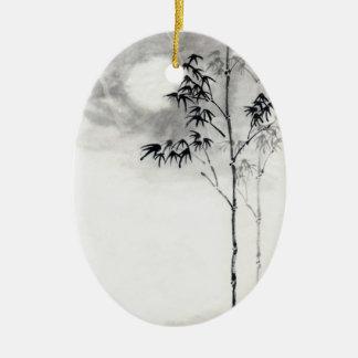 Luna japonesa clásica del bambú del arte de la adorno ovalado de cerámica