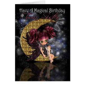 Luna linda del cumpleaños mágico gemelo de la tarjeta de felicitación