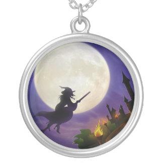 Luna Llena de la bruja de Halloween Colgante