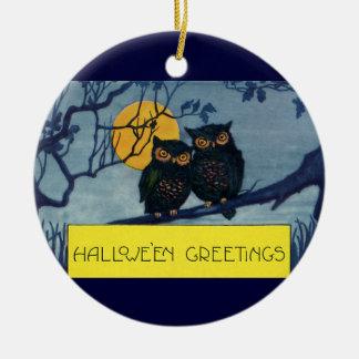 Luna Llena del árbol de los búhos de los saludos Adorno Redondo De Cerámica