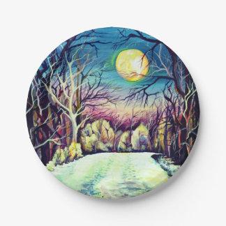 Luna Llena del invierno silencioso de la noche Plato De Papel