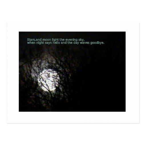 Luna Llena y poema Tarjetas Postales