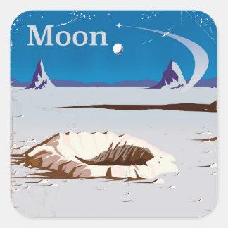 Luna - poster del viaje de la ciencia ficción del pegatina cuadrada