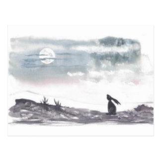 Luna que mira la postal de las liebres