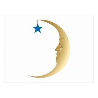 Luna soñolienta con la estrella azul postal