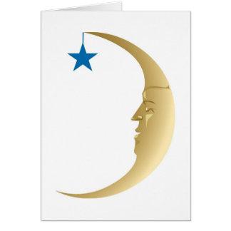 Luna soñolienta con la estrella azul tarjeta de felicitación