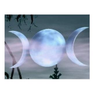 Luna triple de la diosa postal