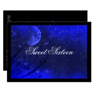 Luna y estrellas, invitaciones azules del dulce