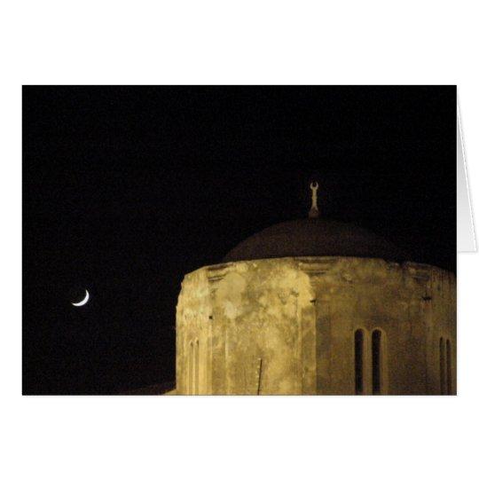 Luna y mezquita tarjeta de felicitación