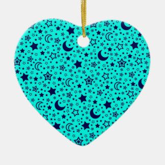 Luna y ornamento de las estrellas adorno navideño de cerámica en forma de corazón