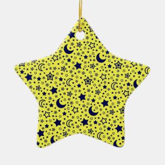 Luna y ornamento de las estrellas adorno navideño de cerámica en forma de estrella