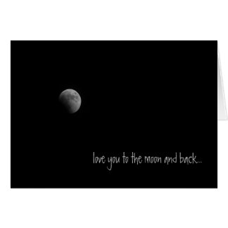 Luna y tarjeta de felicitación trasera del amor de