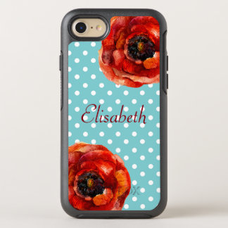 Lunar azul, amapolas rojas, floral, personalizadas funda OtterBox symmetry para iPhone 7