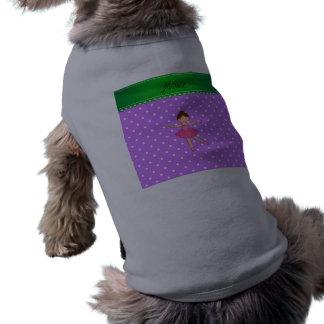 Lunar blanco púrpura personalizado de la bailarina camiseta sin mangas para perro