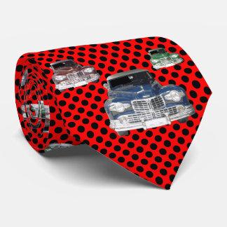 Lunar clásico rojo del coche corbatas personalizadas
