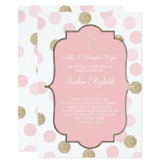 Lunar rosado del brillo del oro del bautismo el invitación 12,7 x 17,8 cm