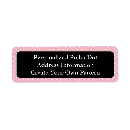 Lunar rosado y blanco etiqueta de remitente