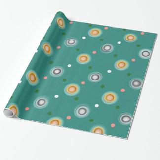 Lunar verde y anaranjado festivo papel de regalo