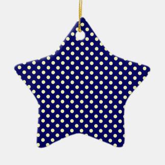 Lunares - amarillo eléctrico en azul marino adorno de cerámica en forma de estrella