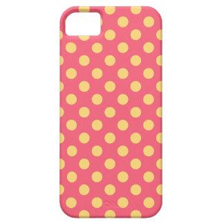 Lunares amarillos en coral funda para iPhone SE/5/5s