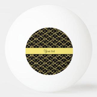 Lunares amarillos glamorosos y diamantes del pelota de ping pong