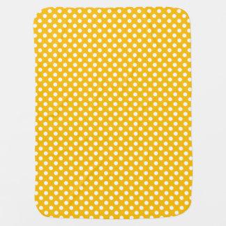 Lunares amarillos/reversible blanco mantita para bebé