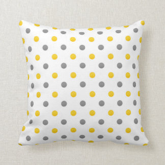 Lunares amarillos y grises cojín decorativo