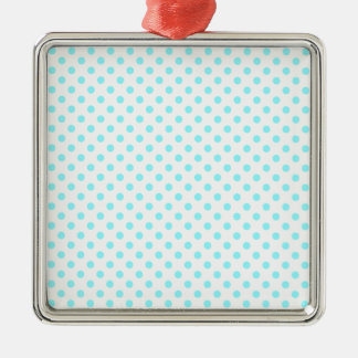 Lunares - azul eléctrico en blanco adorno cuadrado plateado